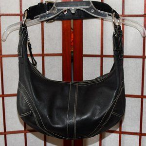 Coach Black Leather Buckle Strap Hobo